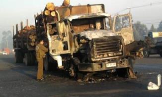 camión quemado en Araucanía